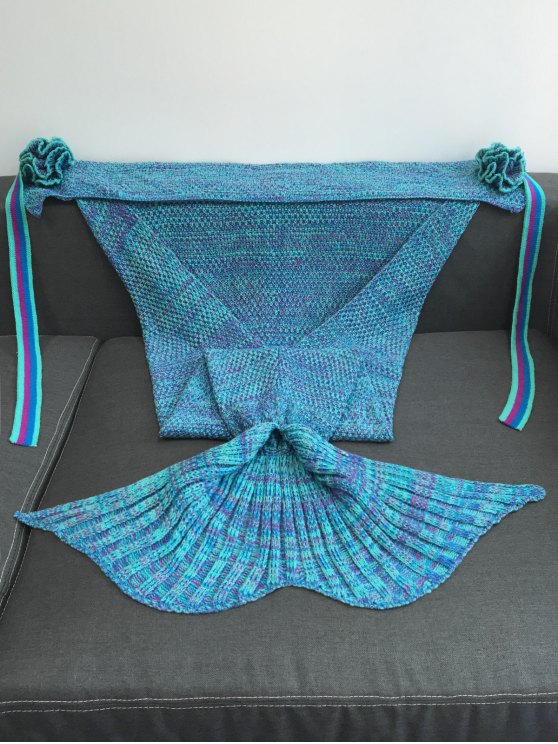 Knitted Flowers Decor Mermaid Tail Shape Blanket -   Mobile