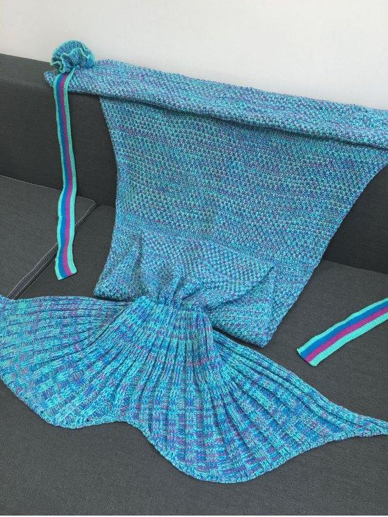 Knitted Flowers Decor Mermaid Tail Shape Blanket - LAKE BLUE  Mobile