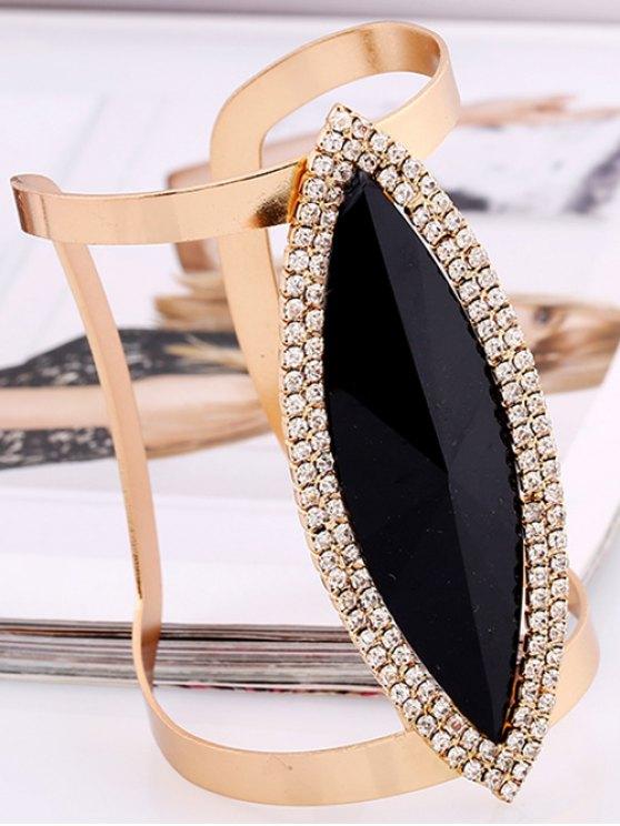 Rhinestone Alloy Layered Leaf Cuff Bracelet - BLACK  Mobile