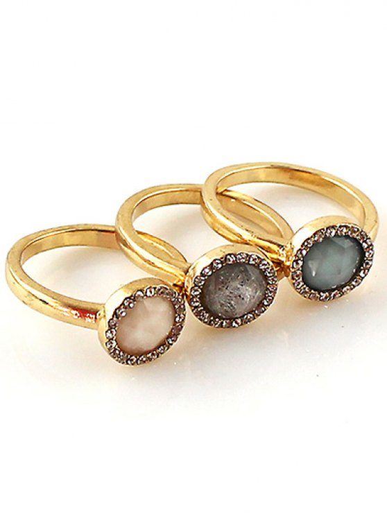 Faux Opal Round Jewelry Rings Set - GOLDEN ONE-SIZE Mobile