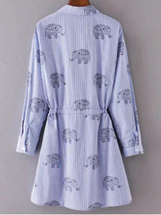 Elephant Print Striped Drawstring Shirt Animal Print Dress - LIGHT BLUE L Mobile