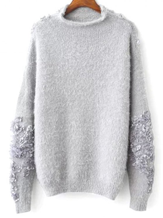 hot Floral Applique Pullover Sweater - GRAY ONE SIZE