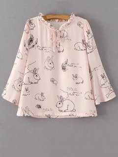 Rabbits Print String Ruff Collar Blouse - Pink S