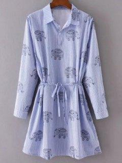 Elephant Print Striped Drawstring Shirt Animal Print Dress - Light Blue S