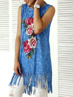 Floral Fringe High Low Tank Top - Blue S