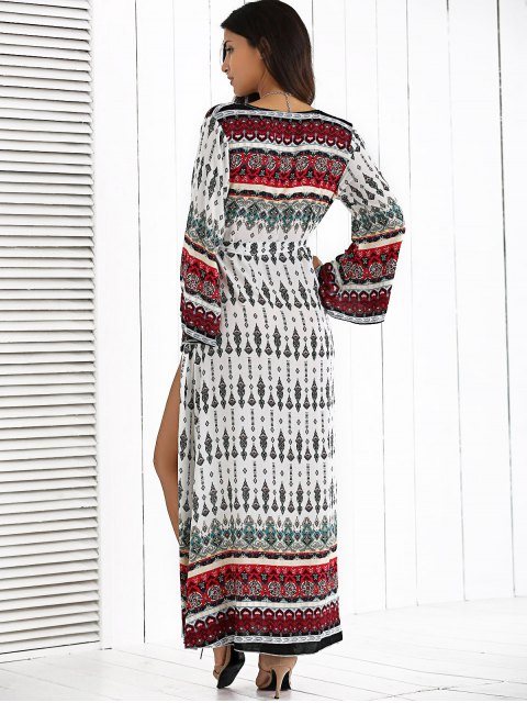 latest Long Sleeve Furcal Maxi Dress - WHITE ONE SIZE Mobile