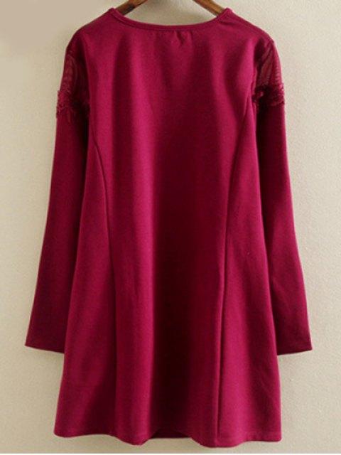 women Plus Size Tunic Dress - WINE RED 2XL Mobile