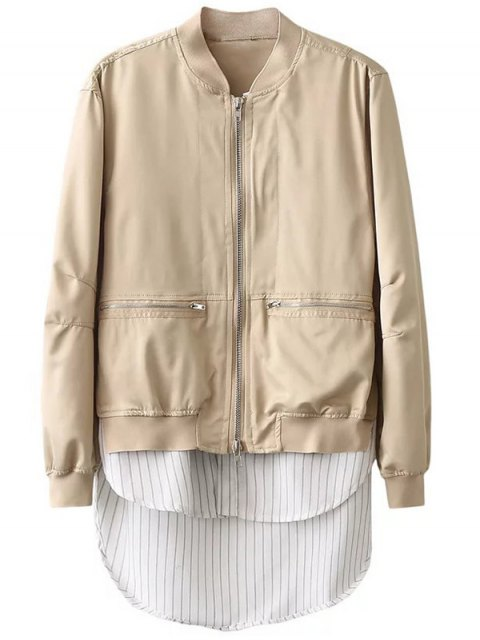 fancy Zipped Layered Hem Jacket - COMPLEXION L Mobile