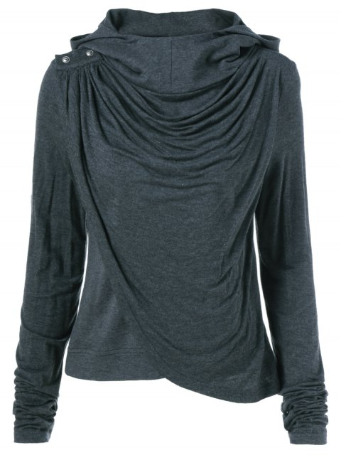 outfits Draped Hoodie - BLACK GREY S Mobile