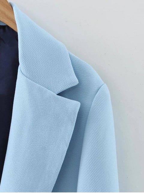 buy Pockets Lapel Collar Long Coat - LIGHT BLUE M Mobile