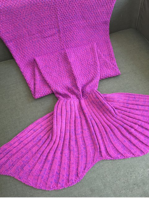 unique Sofa Knitted Mermaid Tail Shape Blanket - PURPLE  Mobile