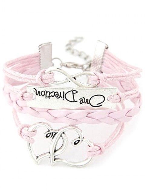 latest Interlink Hearts Braided Bracelet - PINK  Mobile