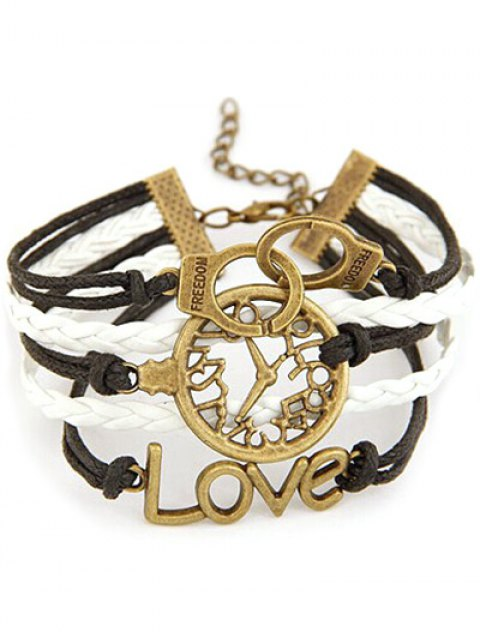 fashion Clock Handcuffs Braided Bracelet - COLORMIX  Mobile