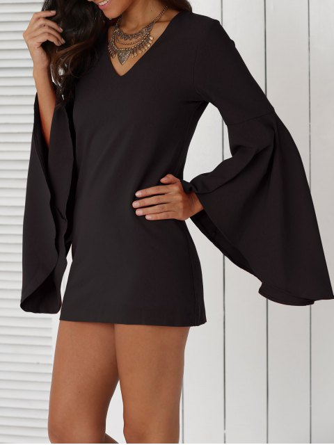online Solid Color Plunging Neck Flare Sleeve Sheath Sexy Mini Dress - BLACK 2XL Mobile