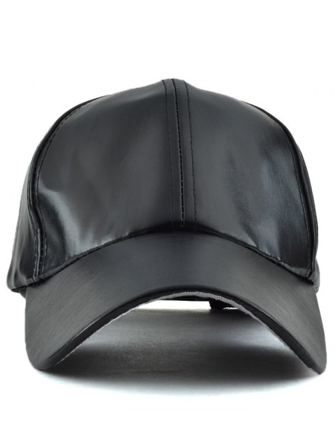 shop Faux Leather Baseball Hat - BLACK  Mobile