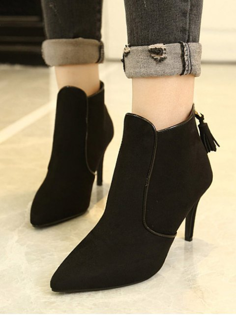 online Flock Tassels Zipper Ankle Boots - BLACK 38 Mobile