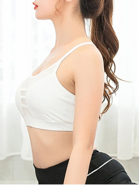 ladies Mesh Spliced Sheer Padded Yoga Bra - WHITE XL Mobile
