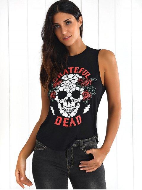 best Skull Print Backless Tank Top - BLACK L Mobile