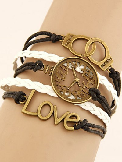 Clock Handcuffs Braided Bracelet - COLORMIX  Mobile