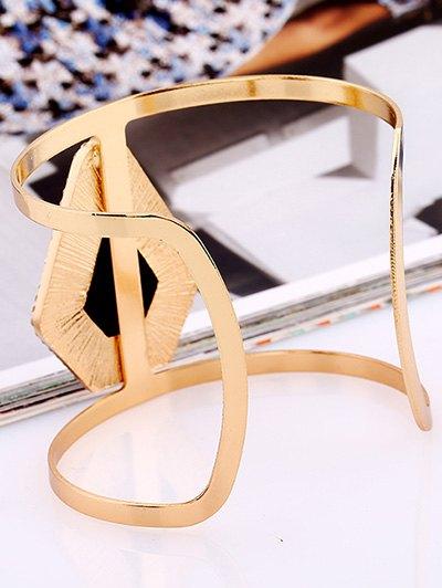 Rhinestone Alloy Layered Geometric Cuff Bracelet - BLACK  Mobile