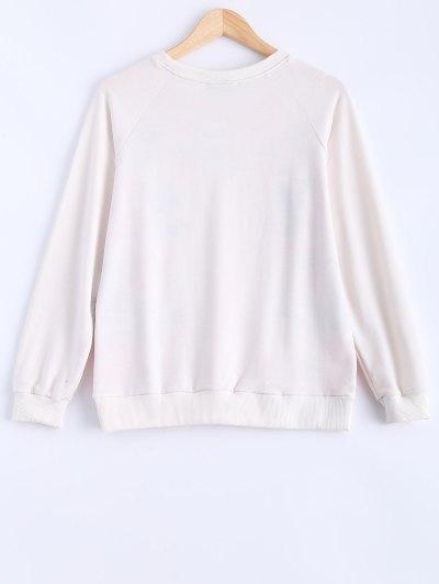 Round Neck Peony Printed Sweatshirt - MILK WHITE L Mobile