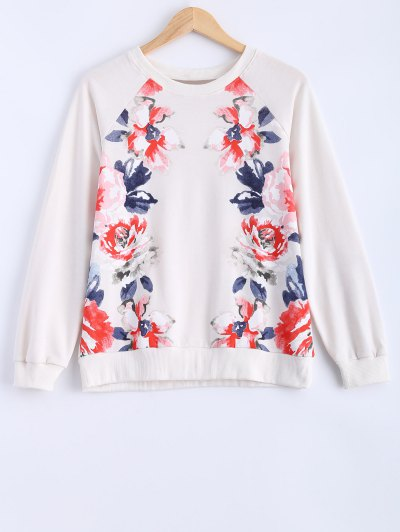 Round Neck Peony Printed Sweatshirt - MILK WHITE M Mobile