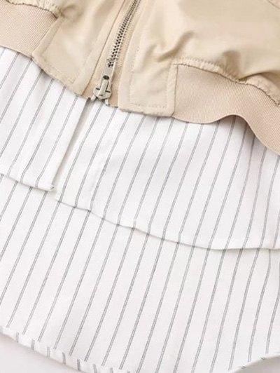Zipped Layered Hem Jacket - GREEN L Mobile