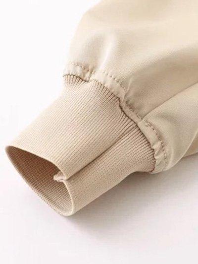 Zipped Layered Hem Jacket - GREEN M Mobile
