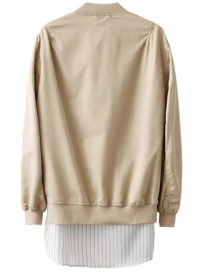 Zipped Layered Hem Jacket - COMPLEXION L Mobile