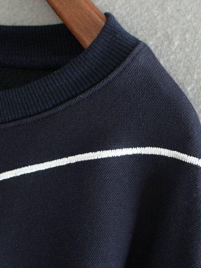 Embroidered Irregular Hem Sweatshirt - PURPLISH BLUE ONE SIZE Mobile
