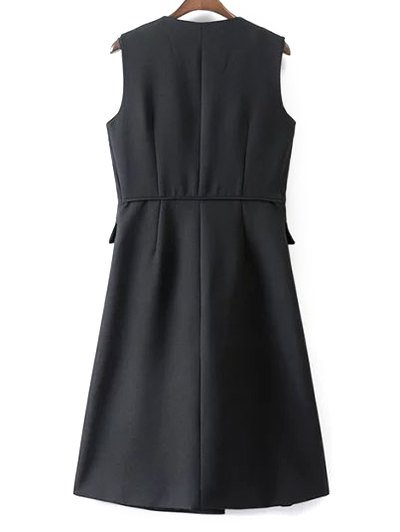 V Neck Two Buttons Long Waistcoat - BLACK L Mobile