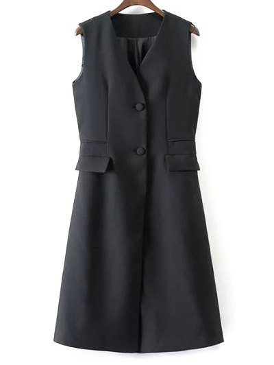 V Neck Two Buttons Long Waistcoat - BLACK S Mobile