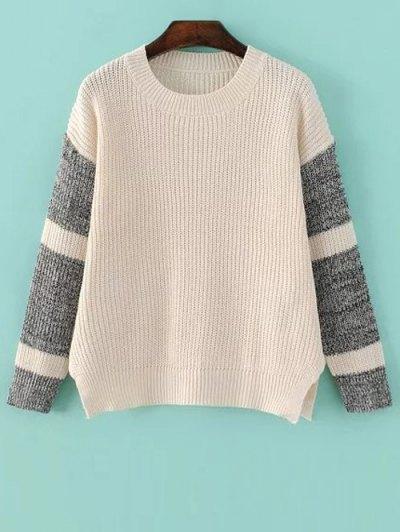 Side Slit Color Block Sweater - Light Apricot