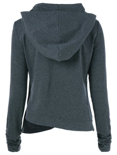 Draped Hoodie - BLACK GREY XL Mobile