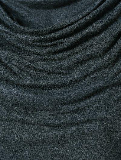 Draped Hoodie - BLACK GREY M Mobile