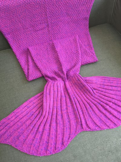 Sofa Knitted Mermaid Tail Shape Blanket - PURPLE  Mobile