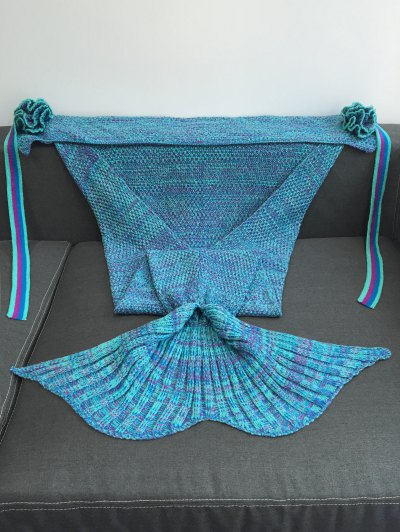 Knitted Flowers Decor Mermaid Tail Shape Blanket - LAKE BLUE  Mobile