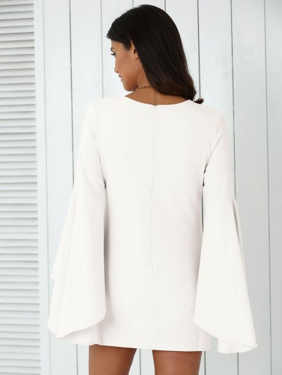 Solid Color Plunging Neck Flare Sleeve Sheath Dress - WHITE 2XL Mobile