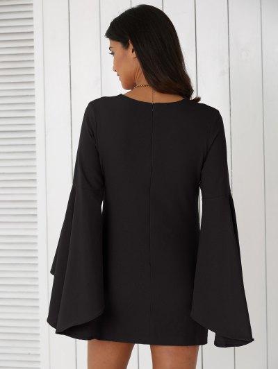 Solid Color Plunging Neck Flare Sleeve Sheath Dress - BLACK 2XL Mobile