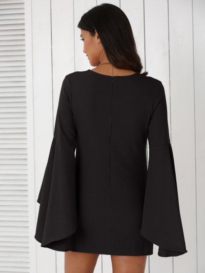 Solid Color Plunging Neck Flare Sleeve Sheath Dress - BLACK S Mobile
