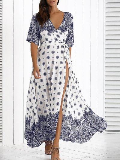 الفستان الطويل بالأساليب المخلوطة مع الرباط - أبيض حجم واحد