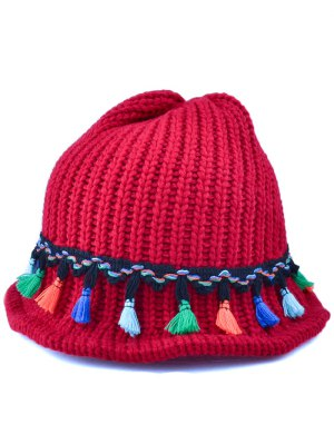 Tassel Pendant Lace-Up Knitted Beanie - Wine Red
