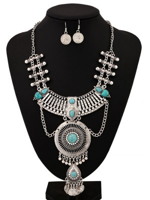 Rhinestone Faux Turquoise Coins Jewelry Set - Silver