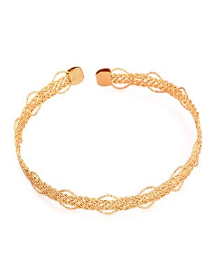 Hollow Out Alloy Cuff Choker Necklace - Golden