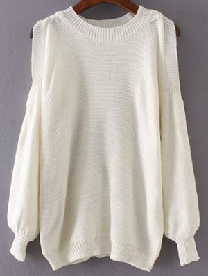 Round Neck Cold Shoulder Pullover Sweater - White