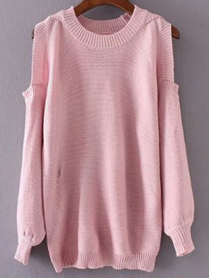 Round Neck Cold Shoulder Pullover Sweater - Pink