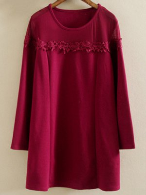 Plus Size Tunic Dress - Wine Red