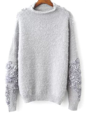 Floral Applique Pullover Sweater - Gray