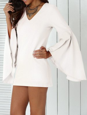 Solid Color Plunging Neck Flare Sleeve Sheath Sexy Mini Dress - White