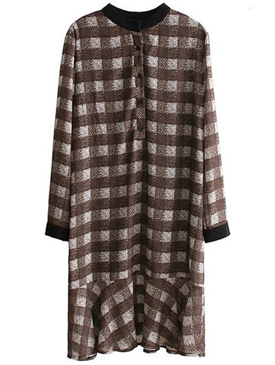 Round Neck Long Sleeves Checked Dress